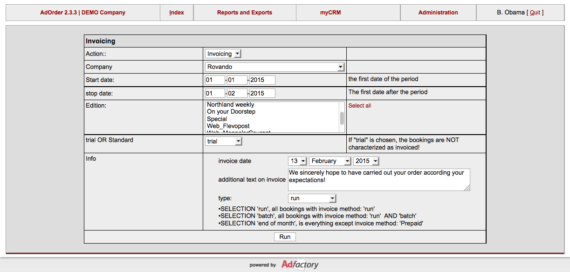 Screen Shot invoicing